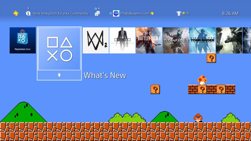 The Classic Video Game Hero Super Mario Dons Todays Custom PS4 Wallpaper
